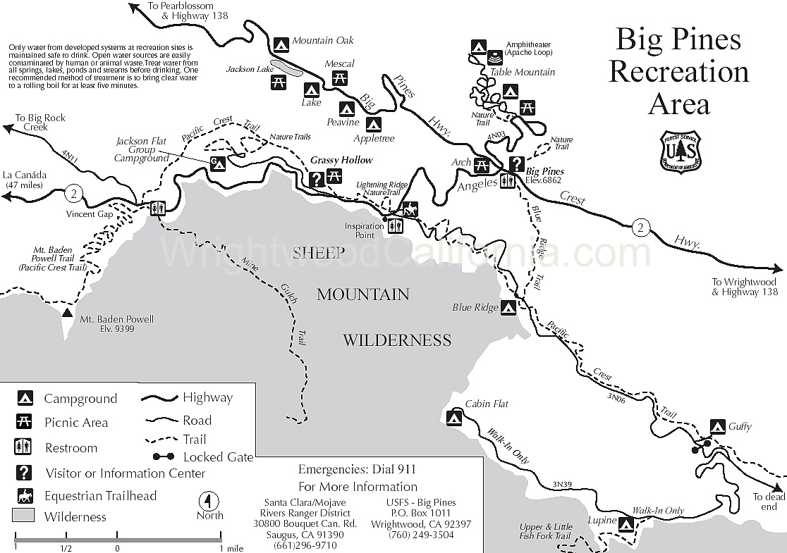 Big Pines Recreation Area Map